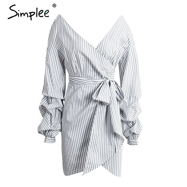 Simplee Off shoulder lantern sleeve wrap women dress Blue stripe bow belt sexy dress Autumn winter plaid shirt dress vestidos