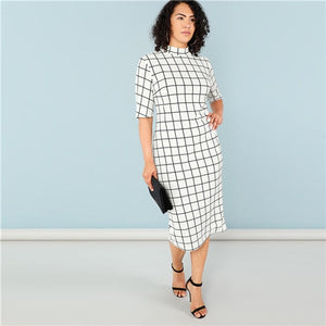 SHEIN Elegant Plaid Bodycon Plus Size Long Pencil Dresses Womens 2018 Office Lady Stand Collar Grid Print Slim Fit Dress