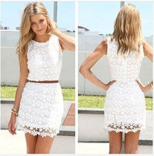 Load image into Gallery viewer, 2015 Summer Women Round Neck Sleeveless White Lace Floral Lace Crochet Sexy Hollow Out Slim Dresses Summer Casual Dress