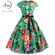 Load image into Gallery viewer, Women Vintage Dress 2019 Summer Floral Print Short Sleeve Dresses 50s 60s Office Party Rockabilly Swing Retro Pinup Plus Size