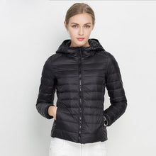 Load image into Gallery viewer, Winter Women Ultra Light Down Jacket White Duck Down Hooded Jackets Long Sleeve Warm Coat Parka Female Solid Portable Outwear
