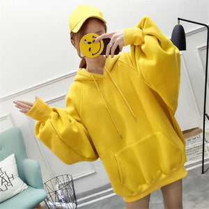 Casual Loose Hoodies Fashion Women's Solid Color Jumper Hooded Long-sleeved Lantern Sleeve Pullover Sweatshirt Tops