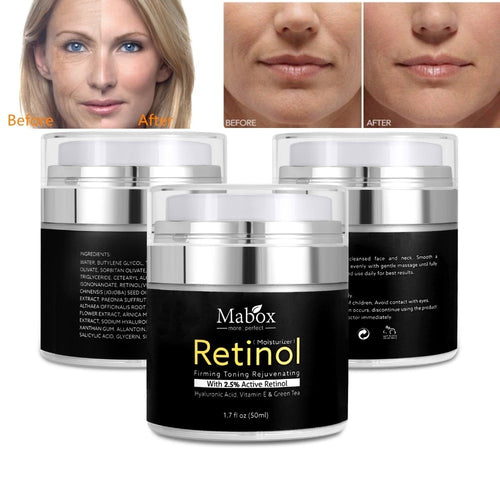 MABOX Retinol 2.5% Moisturizer Face Cream and Eye Hyaluronic Acid Vitamin E Best Night and Day Moisturizing Cream