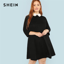 Load image into Gallery viewer, SHEIN Plus Size Black Cute Peter pan Collar Beading Pearl Embellished A-Line Loose Dresses Women Spring Autumn Knee-Length Dress