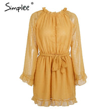 Load image into Gallery viewer, Simplee Lace up backless mesh women dress Elegant sash mini ladies autumn dress Fashion flare sleeve sexy dress vestidos festa