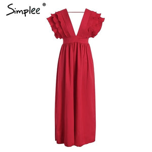 Simplee Elegant v neck long dresses Ruffles high waist women dresses Evening party female sexy maxi dress vestidos festa 2018