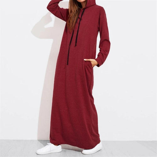 Women's Maxi Dress Hooded Sweatshirt Dress Long Sleeve Hoodies Pullover with Plus Sizes