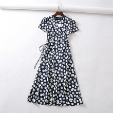 Load image into Gallery viewer, Vintage flower dot print wrap dress women short sleeve chiffon beach dress korean v neck party midi dress Casual boho vestidos
