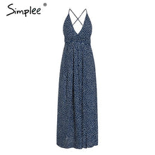 Load image into Gallery viewer, Simplee Boho deep v neck backless sexy dress Split cross lace up chiffon summer beach long dress Sleeveless maxi dress vestidos