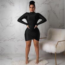 Load image into Gallery viewer, Anjamanor Green Long Sleeve Bandage Dress Elegant Sexy Ruched Mini Bodycon Dresses Woman Party Night 2019 Clubwear D35-Ab64