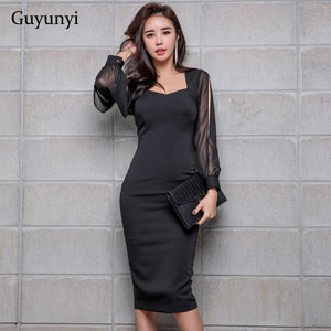 Black Elegant Office Dress 2019 Spring Women'S Dress Chiffon Stitching Nine-Point Sleeves Athens Generous Pencil Dress