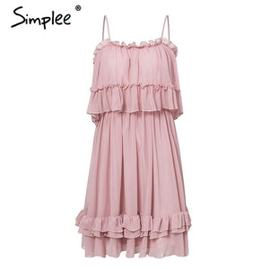 Simplee Elegant ruffle off shoulder women dress Spaghetti strap chiffon summer dresses Casual holiday female pink short sundress