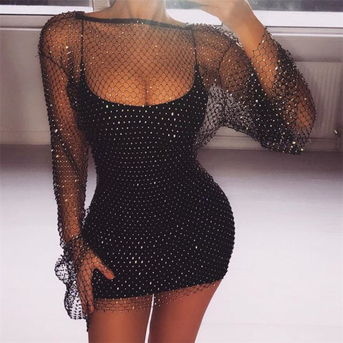 Diamonds Mesh Patchwork Dresses Women Crochet Hollow Out Rhinestone Long Sleeve Party See-Through Wrap Mini Dress