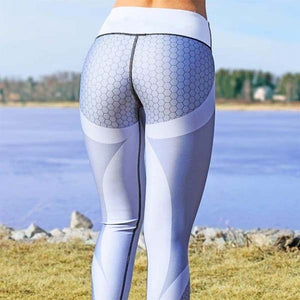 New Sports Printing Style Leggings Put Hip Fold Elastic High Waist Legging Breathable Slim Pants 2019