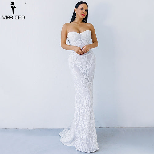 Missord 2019 Sexy New Bra Off Shoulder Retro Geometry Sequin Female  Dresses  Floor Length Party Elegant  Dress FT8888-1