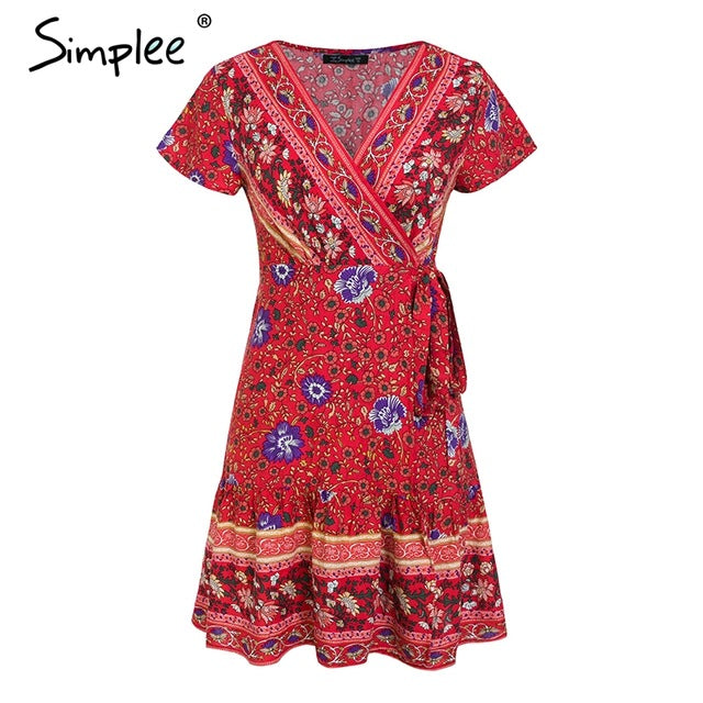Simplee Bohemian floral mini women summer dress festa V neck ruffle bandage dress female 2019 Elegant holiday beach sundress