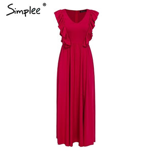 Simplee Sexy pleated red long women dress Ruffles O neck split maxi summer dress 2019 Elegant female club vestidos de fiesta