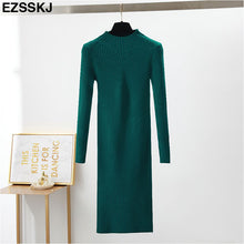 Load image into Gallery viewer, slim female autumn winter midi sweater dress women sexy bodycon dress long sleeve robe dress solid Basic knitted dress solid