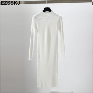 slim female autumn winter midi sweater dress women sexy bodycon dress long sleeve robe dress solid Basic knitted dress solid