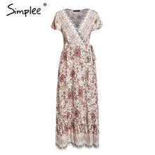 Load image into Gallery viewer, Simplee Vintage floral print summer dress Ruffle split sash sexy long dress Bohemian women dress holiday beach dress vestidos
