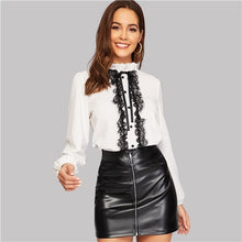 Load image into Gallery viewer, SHEIN White Tie Neck Buttoned Lace Trim Keyhole Back Blouse Elegant Frill Stand Collar Long Sleeve Tops Women 2019 Plain Blouses