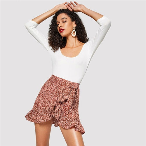 SHEIN Modern Lady Multicolor Asymmetrical Ruffle Hem Floral Skirt Summer Casual Women Going Out Above Knee Short Skirts