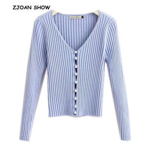 2019 Spring New Stylish Knitting Single Breasted Pearl Cardigan Sweater Woman Deep V-neck Long Sleeve Jumper kleding jerseis
