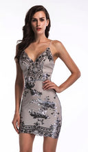 Load image into Gallery viewer, 2019 New Sexy Black Gold Sequins Summer Dress Women Midi bodycon Party dress elegant Luxury Night club Dresses vestidos clothes