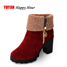 Load image into Gallery viewer, New 2019 Winter High Heel Boots Warm Plush Square Heels Winter Shoes Women's Boots Ladies Fashion Brand Ankle Snow Boots A056