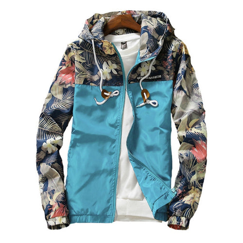 Women's Hooded Jacket Causal Flowers Print Windbreaker Lightweight Zipper Jacket