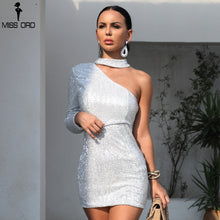 Load image into Gallery viewer, Missord 2019 Sexy One Shoulder Elastic Sequin Dresses Female Elegant  Mini Party Bodycon Reflective  Dress  FT8889