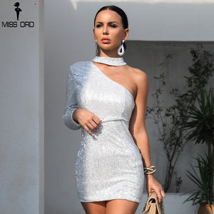 Missord 2019 Sexy One Shoulder Elastic Sequin Dresses Female Elegant  Mini Party Bodycon Reflective  Dress  FT8889