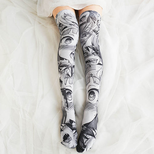 Anime Pattern Cartoon Printed Stockings Overknee Tights Socks/Stockings (Black or Blue)