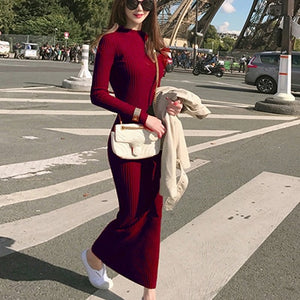 Spring Fashion Knitting Cotton Dress Women Long Sleeve O-neck Sheath Ankle-Length Dress Winter Warm Slim Pullovers Sweater Dress