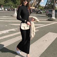 Load image into Gallery viewer, Spring Fashion Knitting Cotton Dress Women Long Sleeve O-neck Sheath Ankle-Length Dress Winter Warm Slim Pullovers Sweater Dress