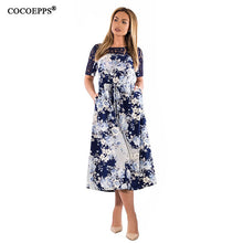 Load image into Gallery viewer, 6XL 2019 summer Lace Patchwork women vestidos big sizes vintage casual dress Floral print long dress plus size female maxi dress