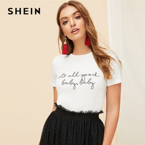 SHEIN White Slogan Letter Print Solid Slim Fitted Tee Short Sleeve Round Neck T Shirt Women Summer 2019 Casual T-shirt Tops