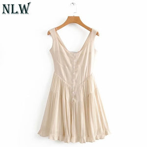 NLW Vintage Pleated Short Dress Women 2019 Summer Casual Black Sleeveless A-Line Dresses Sexy Slim Beach Party Dress Vestido