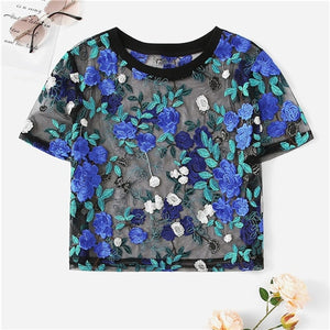 SHEIN Boho Multicolor Floral Embroidery Sheer Mesh Sexy Crop Blouse Women Summer Round Neck Short Sleeve Elegant Top Blouses