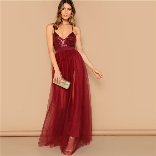 COLROVIE Burgundy Crisscross Backless Sequin Patched Cami Party Dress Women 2019 Summer Sleeveless Lace Elegant Maxi Dresses