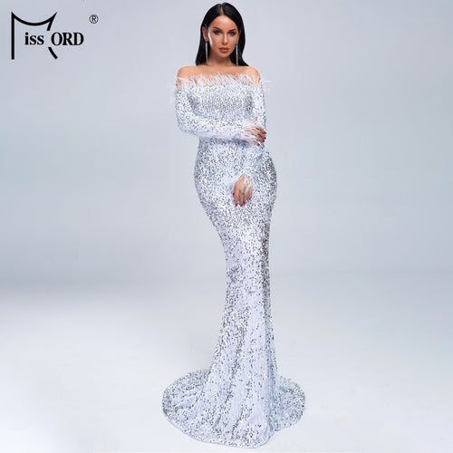 Missord 2019 Women Sexy Off Shoulder Feather Long  Sleeve Sequin floor length Evening  Maxi Reflective Dress Vestdios  FT19005-1