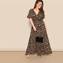 Load image into Gallery viewer, SHEIN Women Plus Size Flounce Sleeve Tie Waist Surplice Wrap Leopard A Line Dress Spring Multicolor High Waist Dresses