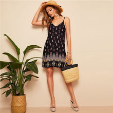 Load image into Gallery viewer, SHEIN Black Sexy Tribal Print Cami Summer Dress Women Boho Beach V Neck Adjustable Spaghetti Strap Backless Mini Dress