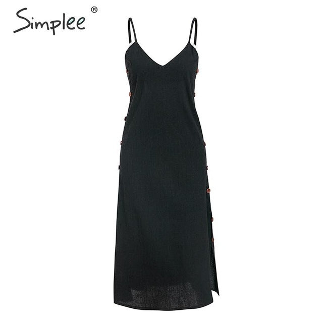 Simplee Bohemian spaghetti strap women midi dress Beach style plus size v-neck summer sundress Elegant casual female dress 2019