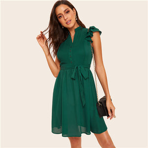 Sheinside Green Button Front Layered Ruffle Pleated Dress With Belt 2019 V Neck Vintage Ladies Dresses Women Short Summer Dress