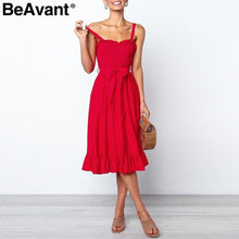 Load image into Gallery viewer, Beavant Elegant Ruffle Pleated Women Cotton Dress Ruched High Waist Summer Dress Pink Spaghetti Strap Female Midi Dress Vestidos