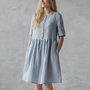 Celmia Women Vintage Cotton Shirt Dress 2019 Summer Short Sleeve ButtonS Loose Solid Casual Party Knee-length Vestidos Plus Size