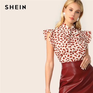 SHEIN Elegant Red Bow Tie Neck Ruffle Trim Petal Print Top Blouse Women Summer 2019 Office Lady Workwear Sleeveless Blouses