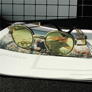 Vintage Small Round Diamond SunglassesSteampunk Colorful Rhinestone Shades UV400
