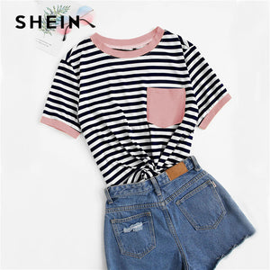 SHEIN Casual Pocket Patched Striped Ranger T Shirt Women Tops Summer Preppy Regular Short Sleeve Round Neck Ladies Tshirt